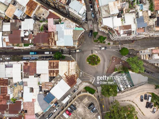 Straight down view of a road intersection in Macau