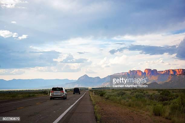 Straight highway near Colorado river in Arizona
