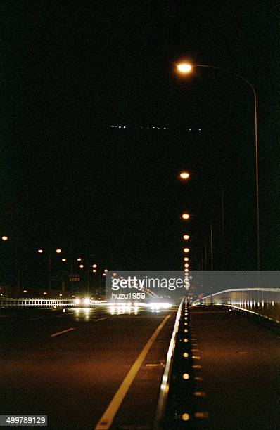 Straight lights of bridge