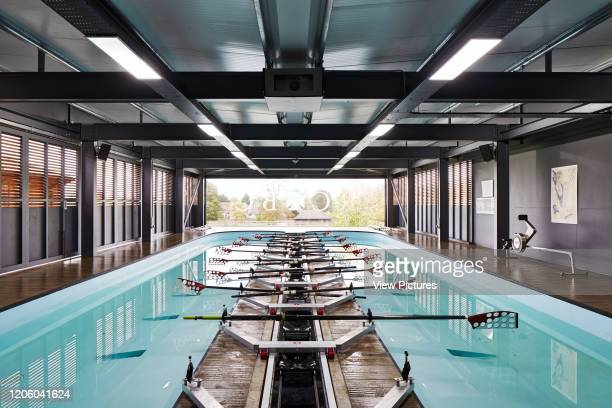 Straight on interior view with lights on Radley Rowing Centre Oxford United Kingdom Architect Mulroy Architects 2016