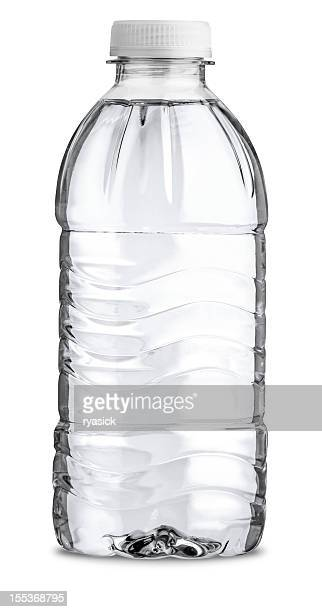 Straight On View of Filled Plastic Water Bottle Isolated