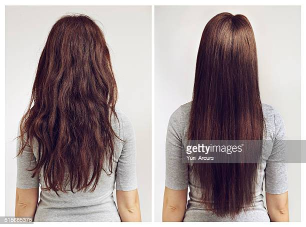 straight or curly? - steil haar stockfoto's en -beelden