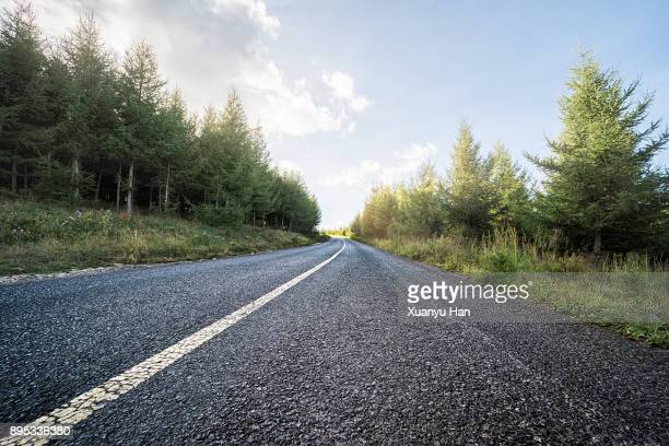 straight road and natural landscape - dividing line road marking stock photos and pictures