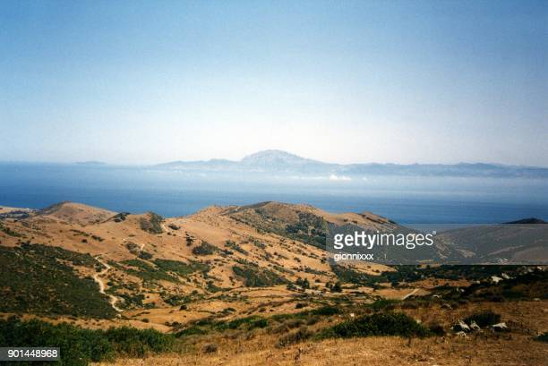 strait of gibraltar overlook at mirador del estrecho, spain - tarifa stock photos and pictures