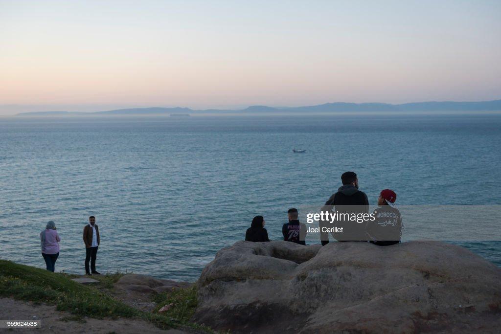 Meerenge von Gibraltar in Tanger, Marokko : Stock-Foto