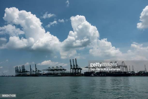 Straits of Singapore and Pasir Panjang Terminal in Singapore