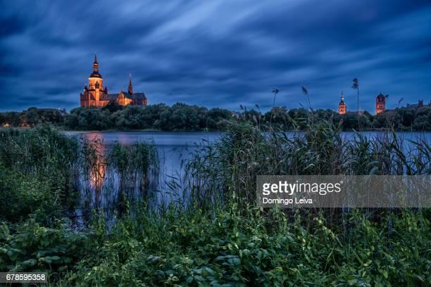 Stralsund at night, Mecklenburg-Western Pomerania, Germany