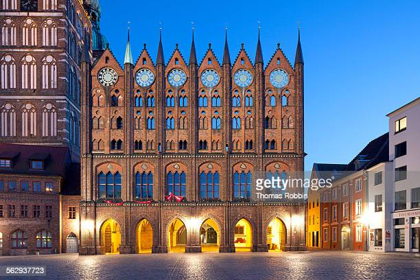 Stralsund Town Hall with origins from the 13th century, facade in the Old Market, next to St. Nicholas Church, Stralsund, Mecklenburg-Western Pomerania, Germany