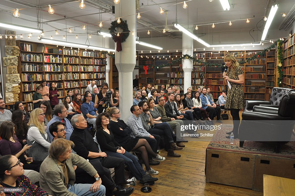 Strand bookstore owner Nancy Bass Wyden (right) addresses the audience during an event to promote the Taschen's special edition of the book 'Frank Sinatra Has a Cold' (by Gay Talese, with photos by Phil Stern), New York, New York, December 3, 2015.