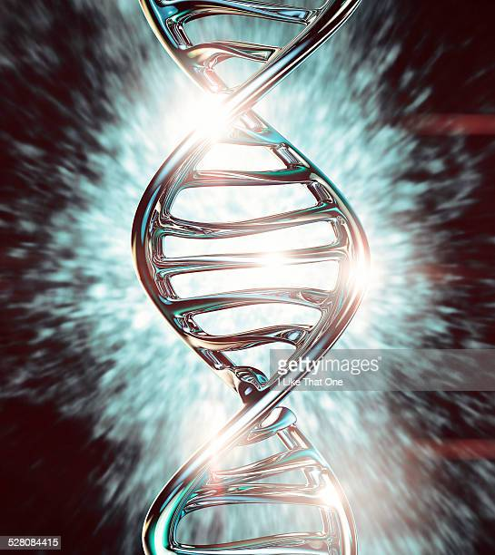 strand of dna helix made from chrome - atomic imagery stock pictures, royalty-free photos & images
