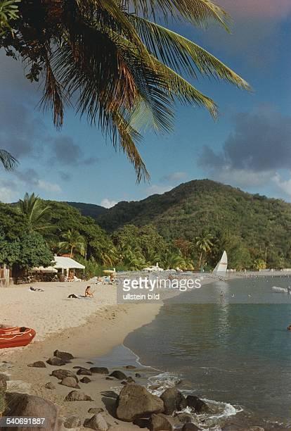 Strand und Palmen auf der Karibikinsel Martinique Menschen / Touristen sitzen im Sand oder baden im seichen Wasser der Bucht Aufgenommen 1994