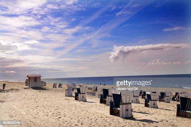 Strand vor Westerland Urlaub auf der Nordsee Insel Insel Sylt im Herbst