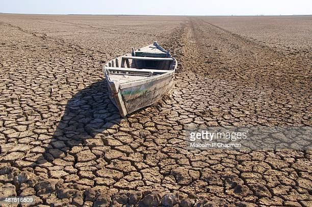 stranded boat, little rann of kutch, india - drought stock pictures, royalty-free photos & images