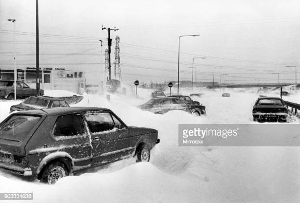 Stranded cars on the A48 Cowbridge bypass South Wales 20th February 1978