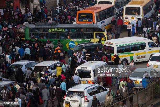 Stranded commuters are forced to walk for hours to make their public transport connection on opposite sides of the city after the Kenyan government...