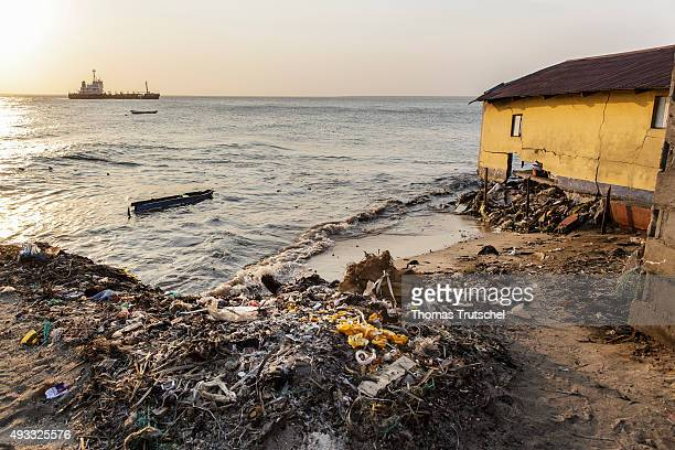 Stranded garbage on the beach in Beira on September 28 2015 in Beira Mozambik
