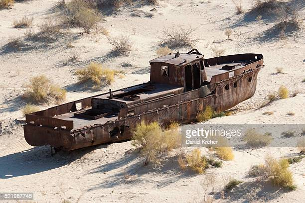 Stranded ship at the port of Mo?ynoq or Muinak, Aral Sea, Karakalpakstan, Uzbekistan