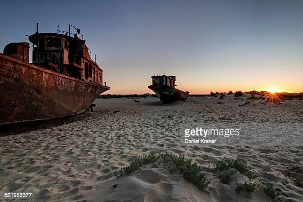 Stranded ships at the port of Mo?ynoq or Muinak, Aral Sea, Karakalpakstan, Uzbekistan