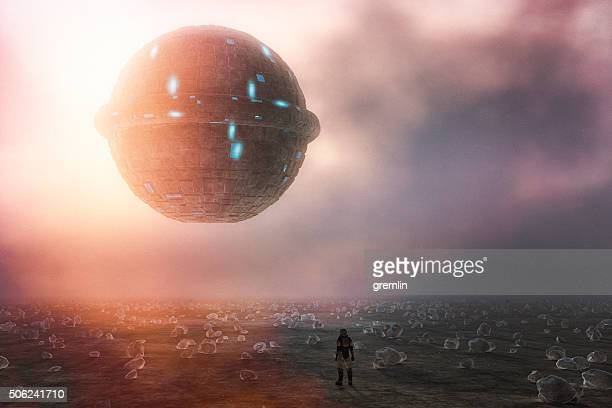 strange alien ufo sphere, planet, astronaut - man with big balls stock photos and pictures