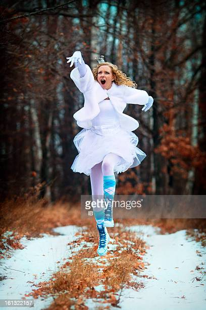 Strange happy jumping bride - Princess in the Forest