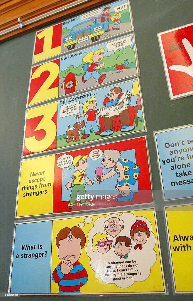 """A """"stranger danger"""" poster is displayed at Safety Town ..."""