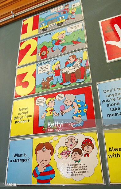 A stranger danger poster is displayed at Safety Town July 24 2002 in Naperville Illinois In 1978 the Junior Woman's Club introduced the city to the...
