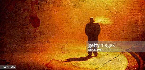 stranger in the night - stalker person stock photos and pictures