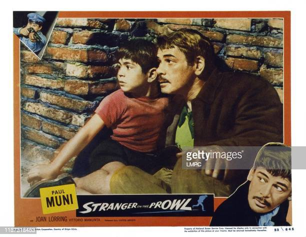 Stranger O The Prowl US lobbycard from left Vittorio Manunta Paul Muni 1952