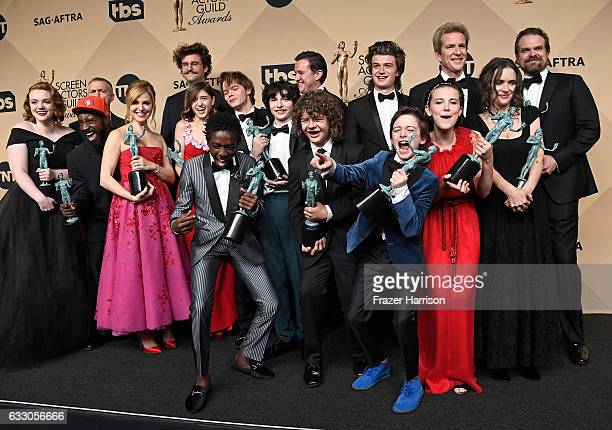 'Stranger Things' cast members recipients of the Outstanding Performance by an Ensemble in a Drama Series award pose in the press room during The...