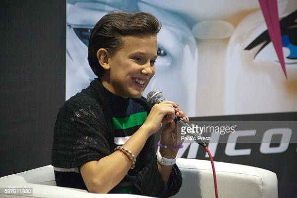 Stranger Things star Millie Bobby Brown answers questions from the local media during the Asia Pop Comic Con 2016 at the SMX Convention Center in...