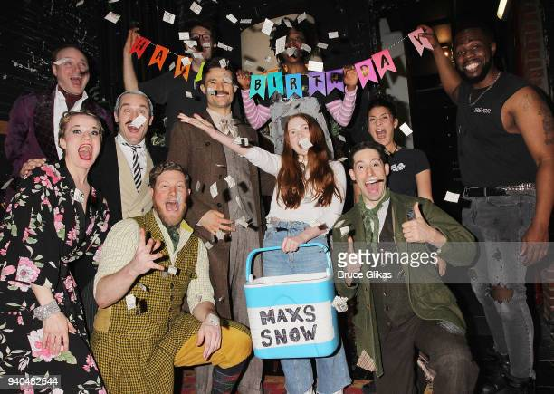 Stranger Things star Sadie Sink poses with the cast backstage as she celebrates her 16th birthday backstage at the hit play The Play That Goes Wrong...