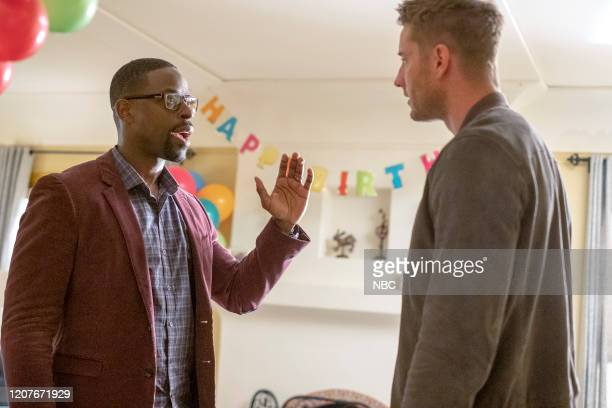 """Strangers: Part Two"""" Episode 418 -- Pictured: Sterling K. Brown as Randall, Justin Hartley as Kevin --"""
