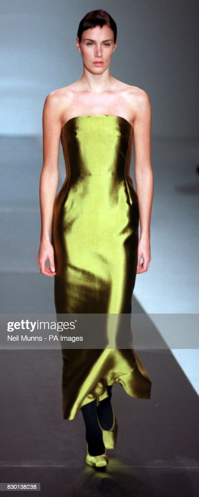 A strapless evening gown with matching shoes from Jasper Conran is ...