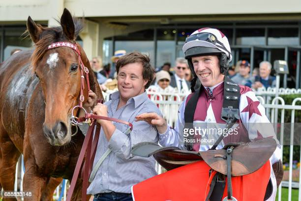 Strapper Stevie Payne and jockey John Allen pose with Renew after winning The Australian Hurdle at Ladbrokes Park Lakeside Racecourse on May 27 2017...