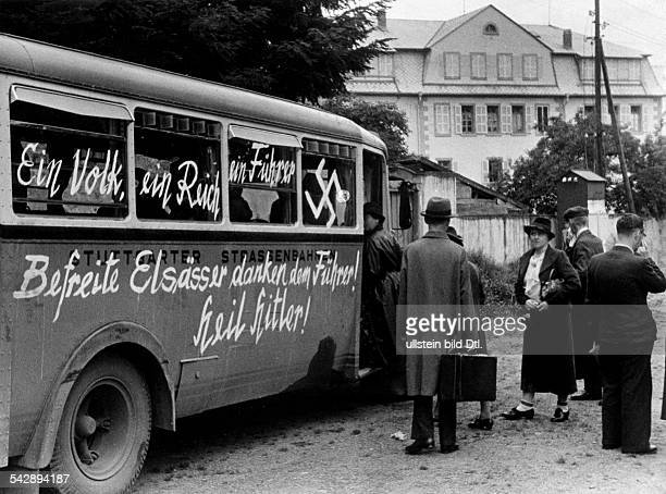 Strasbourg Alsace in 2 WW under german occupation After the entry of german troops into the town and the return of the inhabitants buses show german...