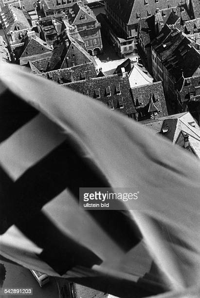 Strasbourg Alsace in 2 WW under german occupation The german svastika hoisted on top of the cathedral Summer 1940