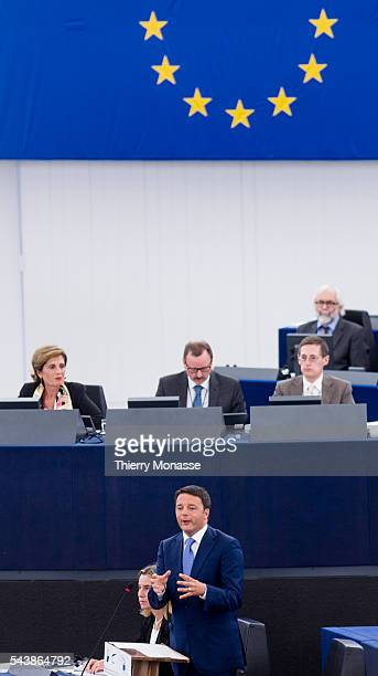 Strasbourg BasRhin Alsace France July 2 2014 Session of the European Parliament in Strasbourg Italian Prime Minister and current President of the...