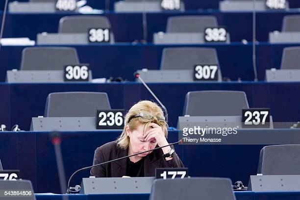 Strasbourg BasRhin Alsace France July 2 2014 Session of the European Parliament in Strasbourg UK Member of the European Parliament Lucy ANDERSON is...