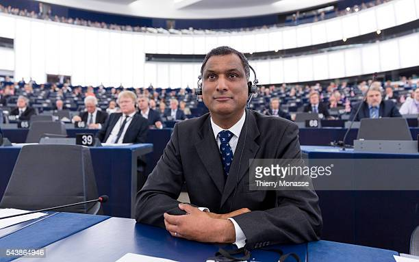 Strasbourg BasRhin Alsace France July 2 2014 Session of the European Parliament in Strasbourg UK Member of the European Parliament Syed KAMALL is...