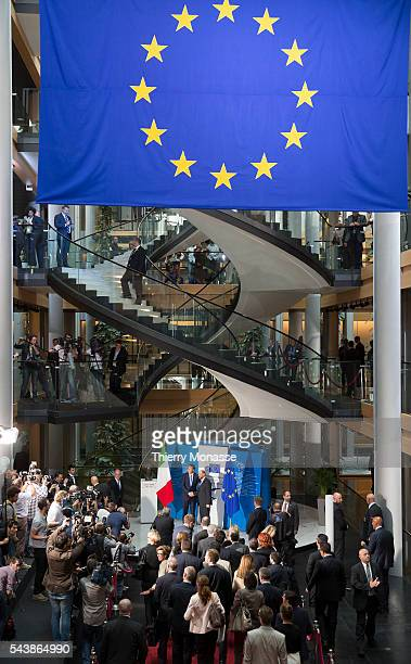Strasbourg BasRhin Alsace France July 2 2014 Session of the European Parliament in Strasbourg Italian Prime Minister Matteo RENZI is welcome by the...