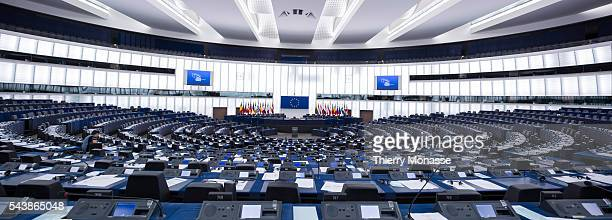 Strasbourg BasRhin Alsace France July 2 2014 Session of the European Parliament in Strasbourg Panoramic view of the hemicycle
