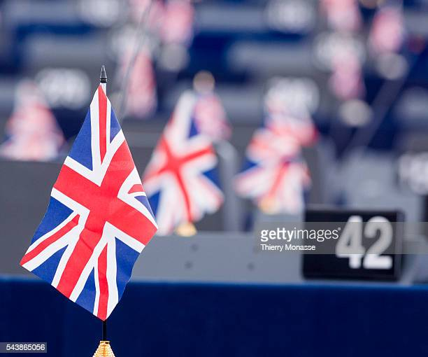 Strasbourg BasRhin Alsace France July 2 2014 Session of the European Parliament in Strasbourg Members of UK Independence Party put an UK flag at...