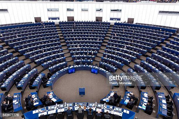 Strasbourg BasRhin France December 16 2104 Empty hemicycle of the European Parliament