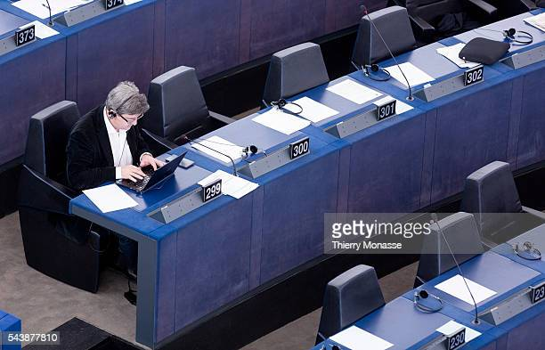 Strasbourg BasRhin France December 16 2104 French Member of the European Parliament JeanLuc MELENCHON is looking at his computer during a session of...