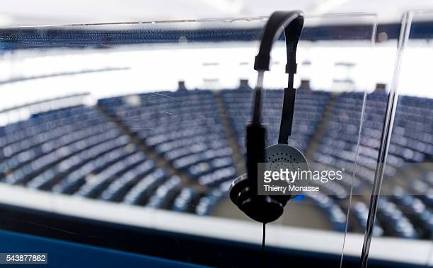Strasbourg BasRhin France December 16 2104 Headset are seen in front of the hemicycle of the European Parliament