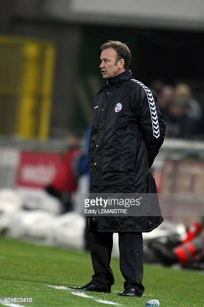 Strasbourg coach JeanMarc Furlan during the French Ligue 1 soccer match between RC Strasbourg and Valenciennes FC