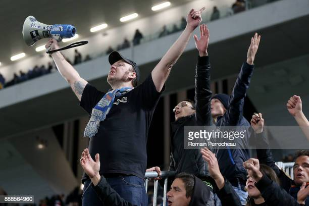 Strasbourg fans support during the Ligue 1 match between FC Girondins de Bordeaux and Strasbourg at Stade Matmut Atlantique on December 8 2017 in...