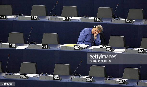 British eurodeputy Robert JE Evans sleeps prior to the plenary session at the European Parliament in Strasbourg eastern France 24 April 2007 as the...