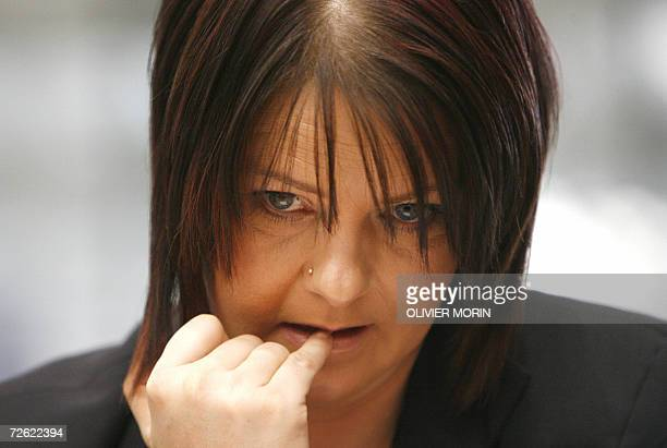British Nathalie Evans waits for the opening of the appeal hearing at the European Court of Human Rights 22 November 2006 in Strasbourg on whether...