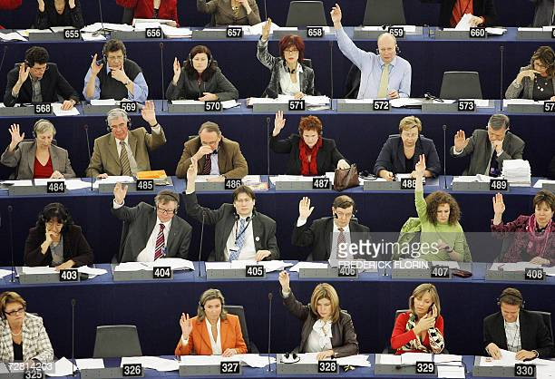 Deputies vote during the plenary session of the European Parliament 13 December 2006 in the northeastern French city of Strasbourg. European...